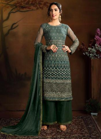 Dark Green Butterfly Net Wedding Wear Heavy Embroidery Work Palazzo Suit
