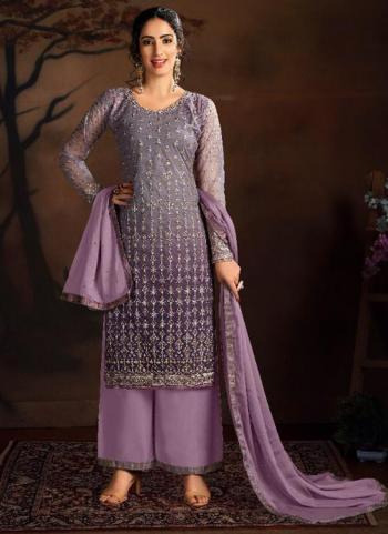 Purple Butterfly Net Wedding Wear Heavy Embroidery Work Palazzo Suit