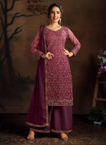Wine Butterfly Net Wedding Wear Heavy Embroidery Work Palazzo Suit