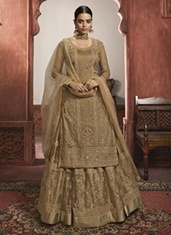 Beige Net Wedding Wear Embroidery Work Lehenga Suit