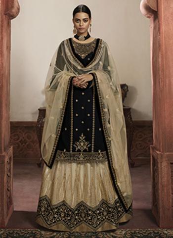 Black Faux Georgette Wedding Wear Embroidery Work Lehenga Suit