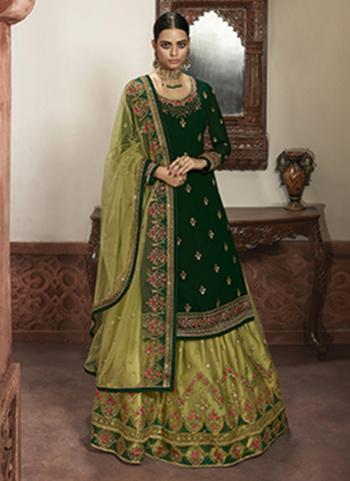 Dark Green Faux Georgette Wedding Wear Embroidery Work Lehenga Suit