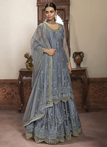 Grey Net Wedding Wear Embroidery Work Lehenga Suit