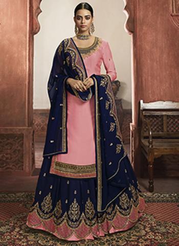 Light Pink Rangoli Satin Wedding Wear Embroidery Work Lehenga Suit