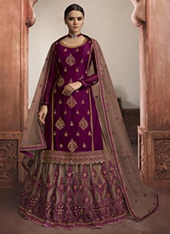 Wine Rangoli Satin Wedding Wear Embroidery Work Lehenga Suit