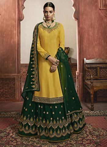 Yellow Faux Georgette Wedding Wear Embroidery Work Lehenga Suit