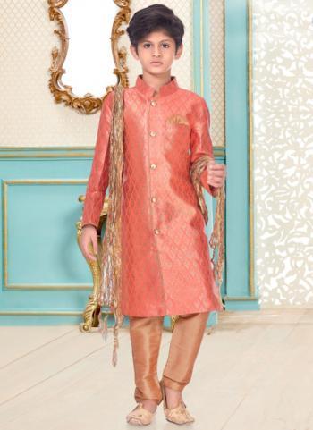 Dark Pink Banarasi Brocade Party Wear Fancy Kids Kurta Pajama