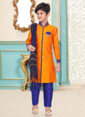 Mango Cotton Linen Party Wear Fancy Kids Kurta Pajama