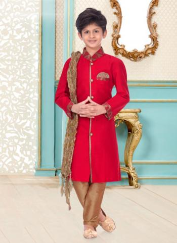 Rani Pink Cotton Linen Party Wear Fancy Kids Kurta Pajama