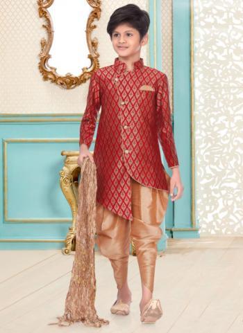 Red Banarasi Brocade Party Wear Fancy Kids Kurta Pajama