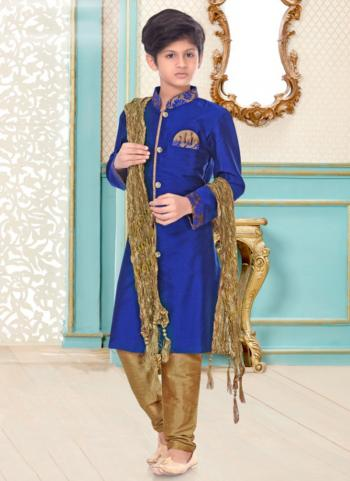 Royal Blue Linen Cotton Party Wear Fancy Kids Kurta Pajama