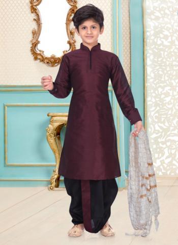 Wine Dupion Silk Party Wear Fancy Kids Kurta Pajama