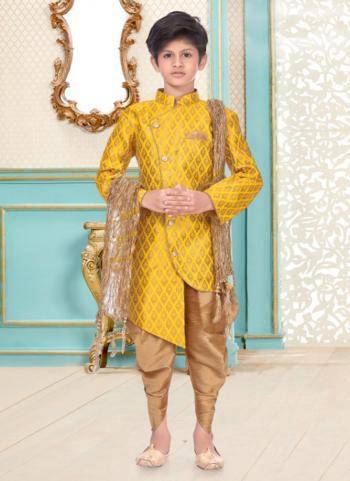 Yellow Banarasi Brocade Party Wear Fancy Kids Kurta Pajama