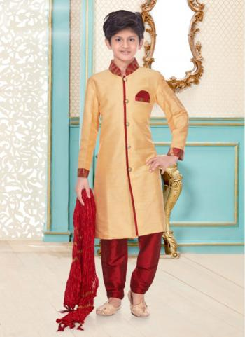 Cream Gold Cotton Linen Party Wear Fancy Kids Kurta Pajama