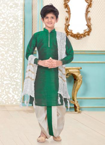 Green Dupion Silk Party Wear Fancy Kids Kurta Pajama