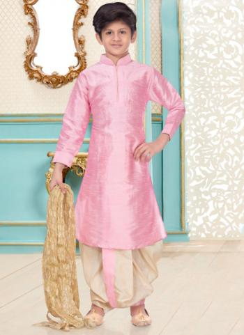 Light Pink Dupion Silk Party Wear Fancy Kids Kurta Pajama