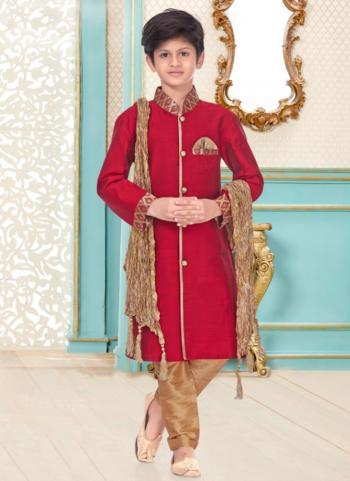 Red Cotton Linen Party Wear Fancy Kids Kurta Pajama