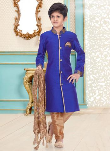 Fancy Royal Blue Cotton Linen Party Wear Kids Kurta Pajama