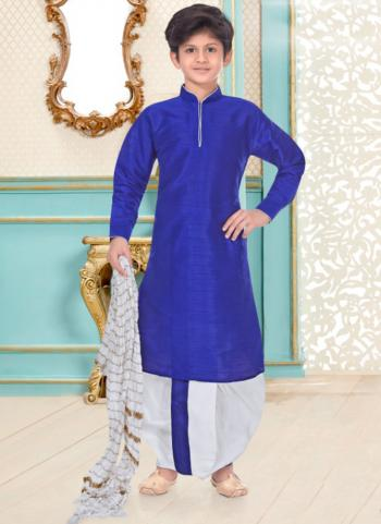 Royal Blue Dupion Silk Party Wear Fancy Kids Kurta Pajama