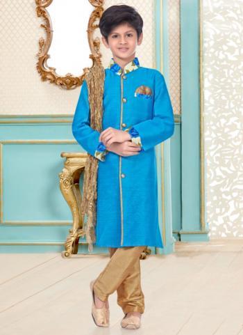 Sky Blue Cotton Linen Party Wear Fancy Kids Kurta Pajama