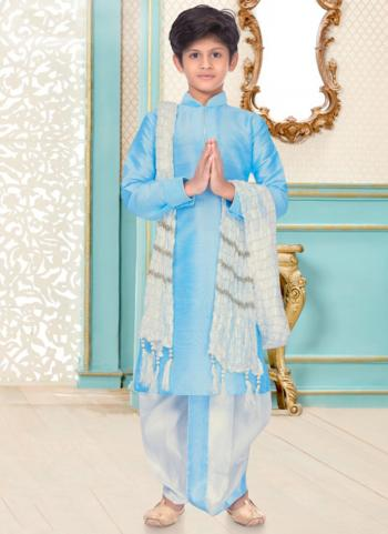 Sky Blue Dupion Silk Party Wear Fancy Kids Kurta Pajama