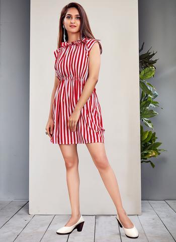 Red Fine Crepe Casual Wear Stripes Dress