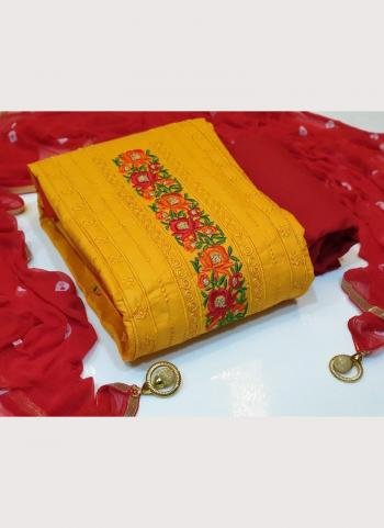 Yellow Lawn Cotton Daily Wear Embroidery Work Salwar Suit