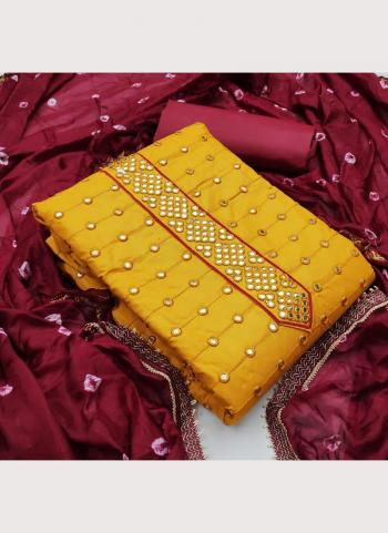Yellow Glace Cotton Casual Wear Mirror Work Salwar Suit