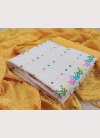 Yellow Chanderi Modal Casual Wear Embroidery Work Salwar Suit