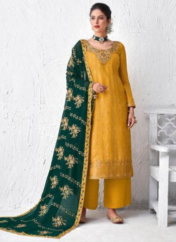 Yellow Dola Silk Festival Wear Embroidery Work Palazzo Suit