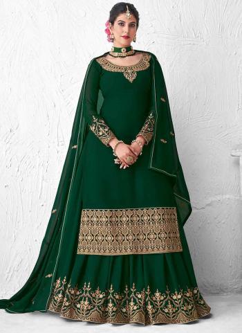 Dark Green Real Georgette Wedding Wear Heavy Embroidery Work Lehenga Suit