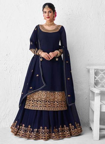 Navy Blue Real Georgette Wedding Wear Heavy Embroidery Work Lehenga Suit