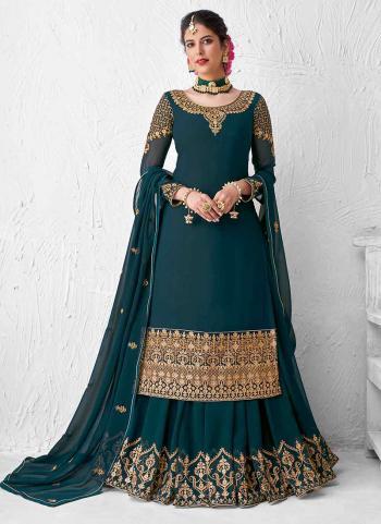 Rama Blue Real Georgette Wedding Wear Heavy Embroidery Work Lehenga Suit
