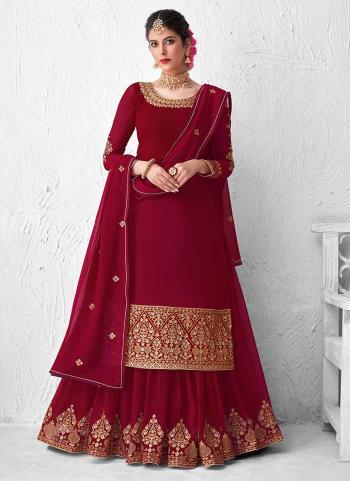 Violet Real Georgette Wedding Wear Heavy Embroidery Work Lehenga Suit