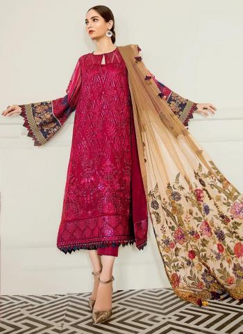 Rani Faux Georgette Festival Wear Embroidery Work Pakistani Suit