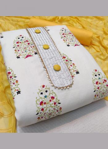 Yellow Slub Cotton Regular Wear Embroidery Work Salwar Suit