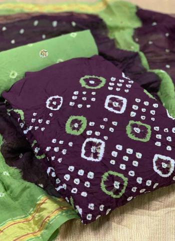 Purple Green Pure Cotton Regular Wear Printed Work Dress Material