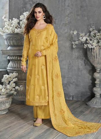 Yellow Pure Dola Silk Festival Wear Embroidery Work Palazzo Suit