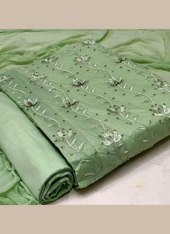 Green Cotton Casual Wear Hand Work Dress Material
