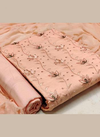 Peach Cotton Casual Wear Hand Work Dress Material