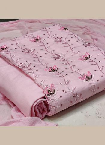 Pink Cotton Casual Wear Hand Work Dress Material