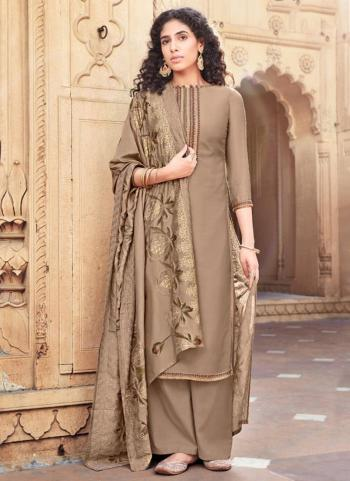 Brown Cotton Silk Festival Wear Embroidery Work Palazzo Suit