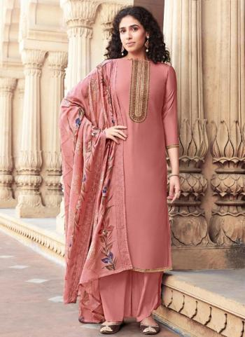 Pink Cotton Silk Festival Wear Embroidery Work Palazzo Suit