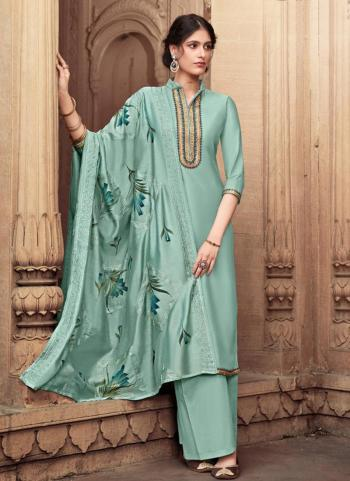 Yellow Cotton Silk Festival Wear Embroidery Work Palazzo Suit