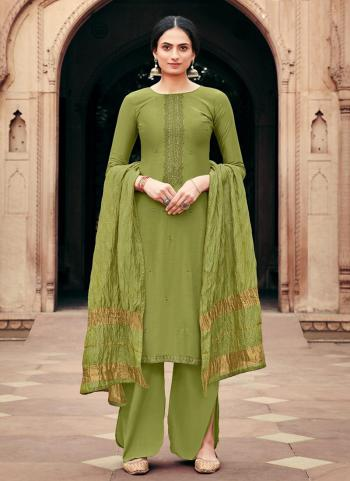 Green Viscose Muslin Traditional Wear Embroidery Work Palazzo Suit