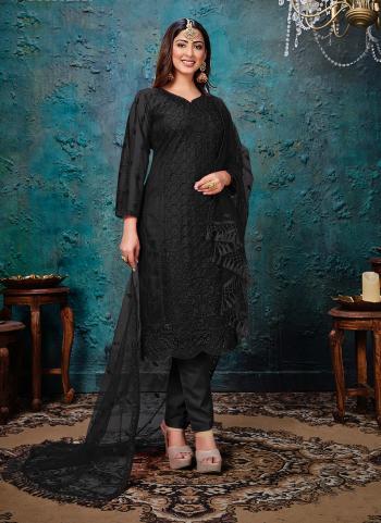 Black Net Festival Wear Embroidery Work Churidar Suit