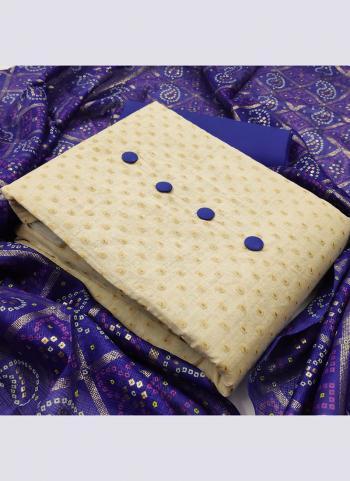 Blue Khadi Cotton Daily Wear Printed Work Salwar Suit