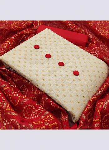 Red Khadi Cotton Daily Wear Printed Work Salwar Suit