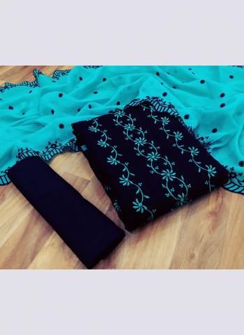 Sky Blue Kota Checks Casual Wear Multi Work Dress Material