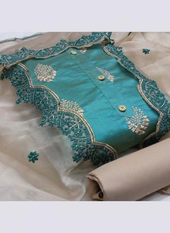 Blue Semi Modal Festival Wear Cut Work Dress Material